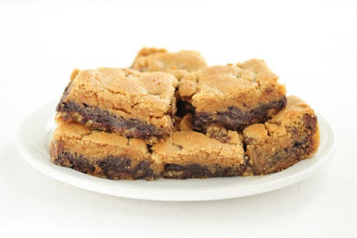 photo of Triple Threat Cookie Bars piled on a plate