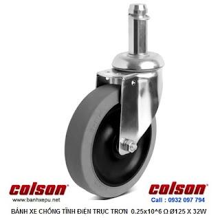 Bánh xe cao su chống tĩnh điện Colson Mỹ trục trơn phi 125 (5 inch)