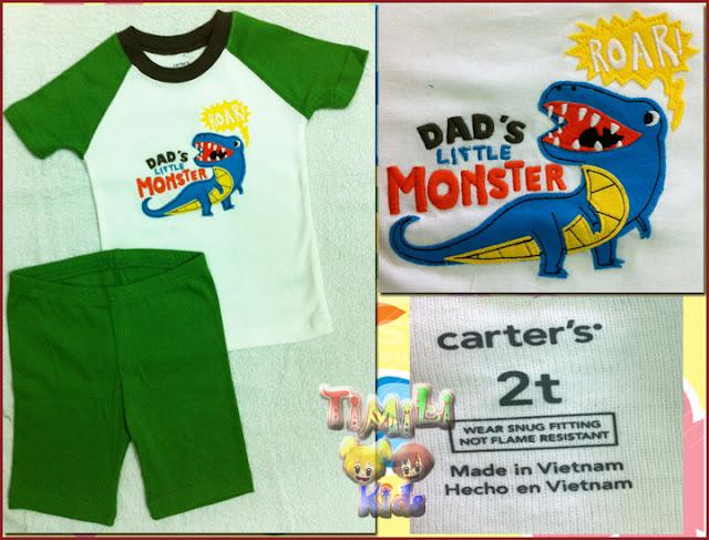 Bộ bé trai Child of mine - một nhãn hàng của Carter's- màu xanh lá, hình con cá sấu, việt nam xuất khẩu.