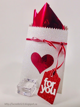 Linda Vich Creates: Valentine Round Up. Dazzling Diamond Mini Treat Bag dazzles with red glimmer tag and red taffeta ribbon.