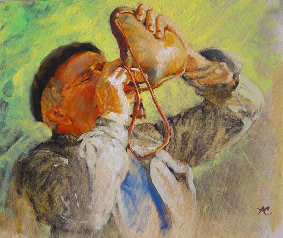 Bebiendo vino en bota