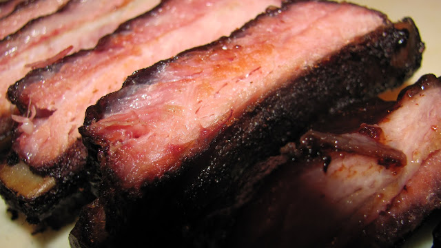 Sliced and ready to go - great smoke ring, moist and tender.