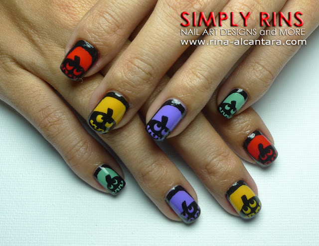 Silhouette Pumpkins Nail Art Design