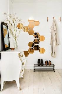 espejos hexagonales cobre