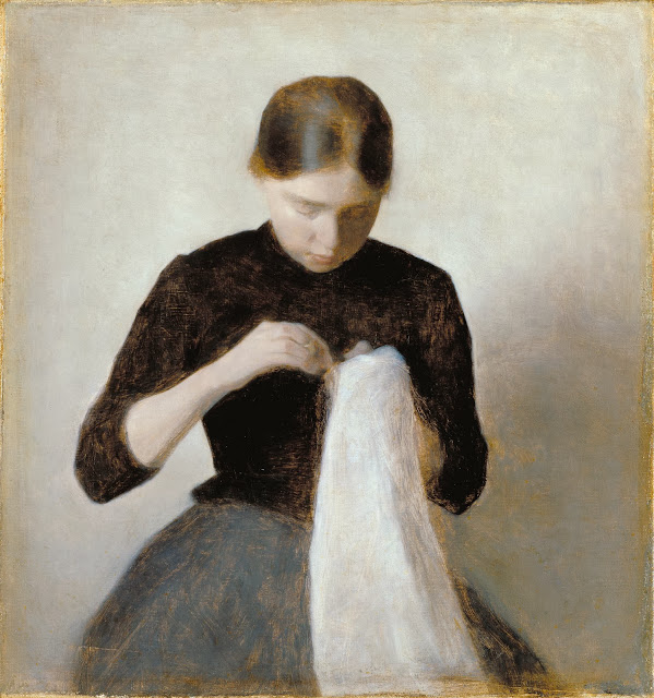 Vilhelm Hammershoi - Young Girl Sewing