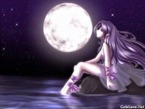 Ảnh hoạt họa cô gái buồn nhìn lên bầu trời về đêm