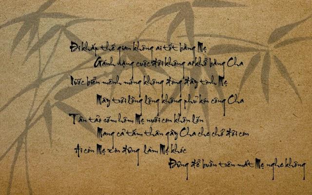 Bài thơ thư pháp cảm động về Cha Mẹ