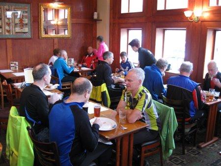 Cyclists having pub lunch