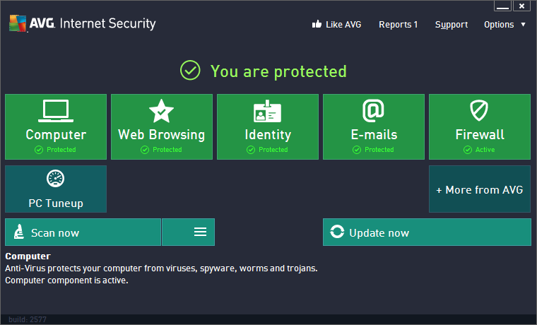 Screenshot of AVG Internet Security 2013 Built 2890 x86-x64 Incl. Keygen+Serial Antivirus PC Software Free Download at Alldownloads4u.Com