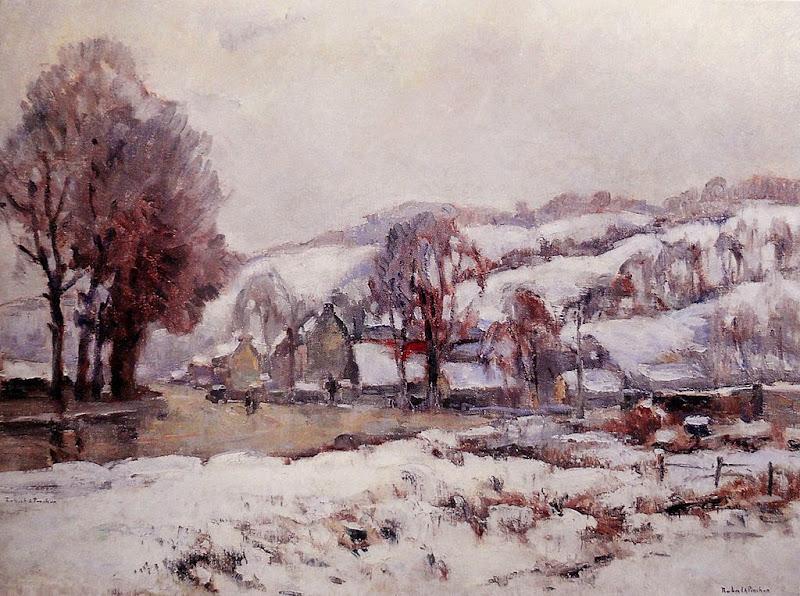 Robert Antoine Pinchon - Rouen, le boulevard de Croisset sous la neige