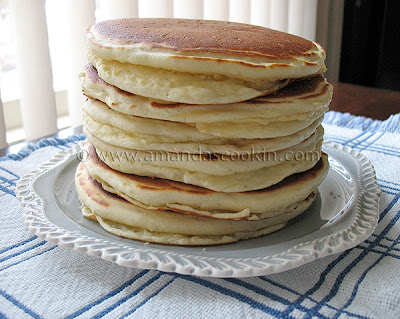 A photo of a stack of pancakes.