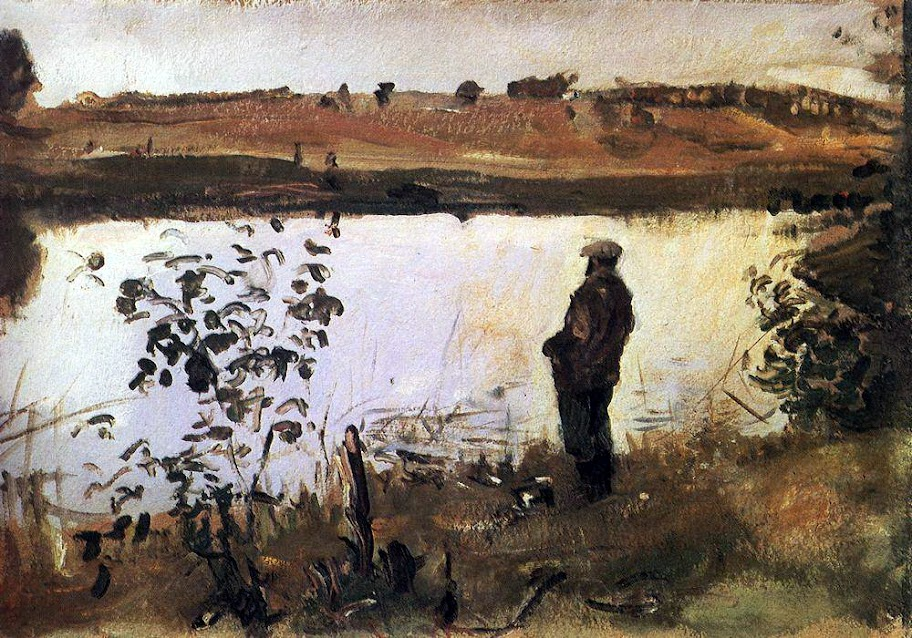 Valentin Serov - Artist Konstantin Korovin on the river bank. 1905