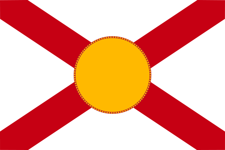 this flag still resembles alabama but the large golden disk could easily be said to be the sun florida is the sunshine state after all