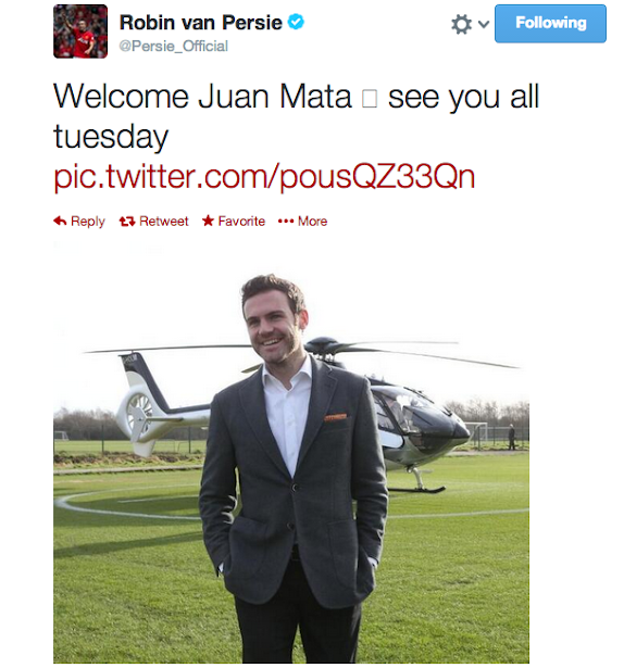 RVP, De Gea & Ferdinand welcome Juan Mata to Manchester United on Twitter