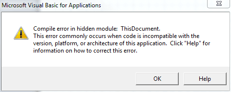 Compile Error in Hidden Module.