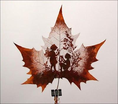 انقش صــورة تحــب الشجــر.. غاية الروعة leaf_painting_art_11