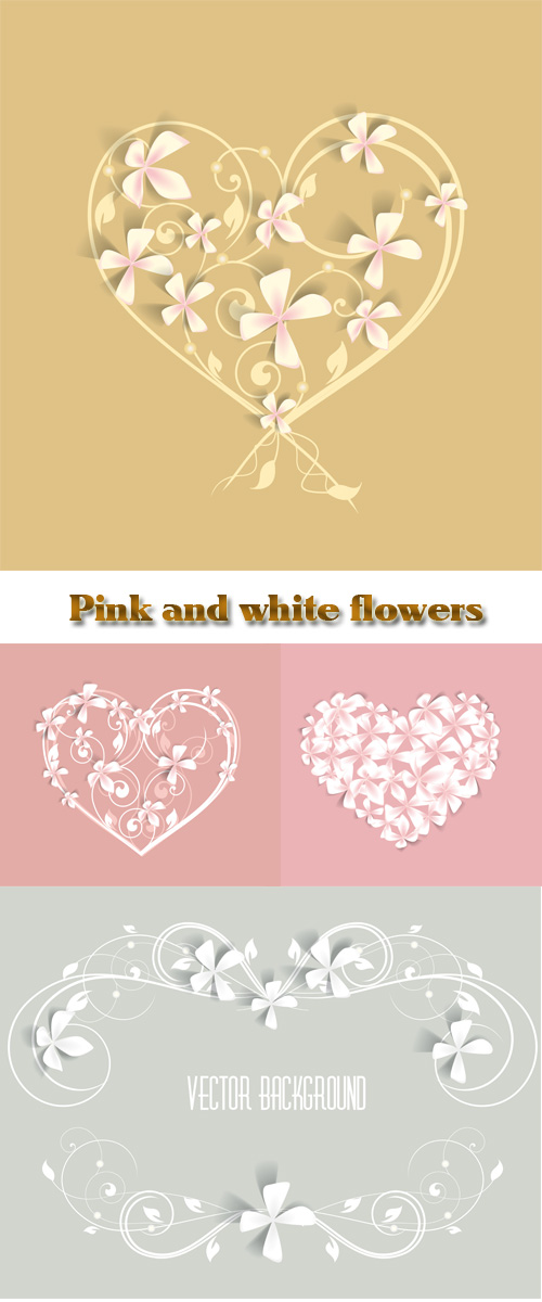 Stock: Pink and white flowers on gentle backgrounds