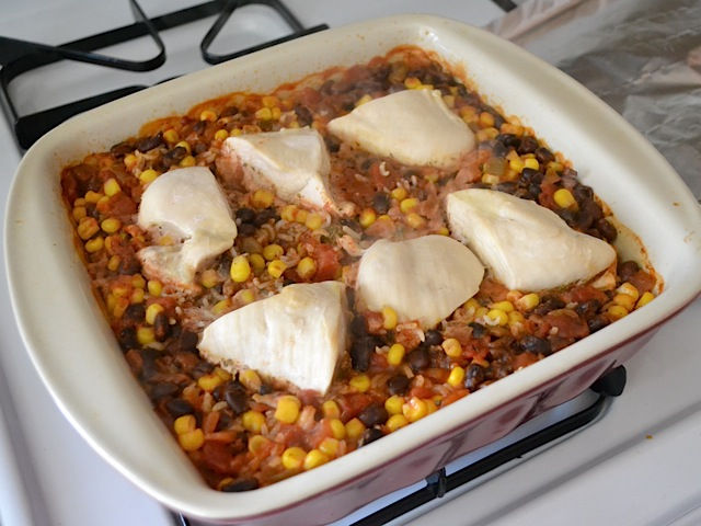 baked chicken casserole on stove top