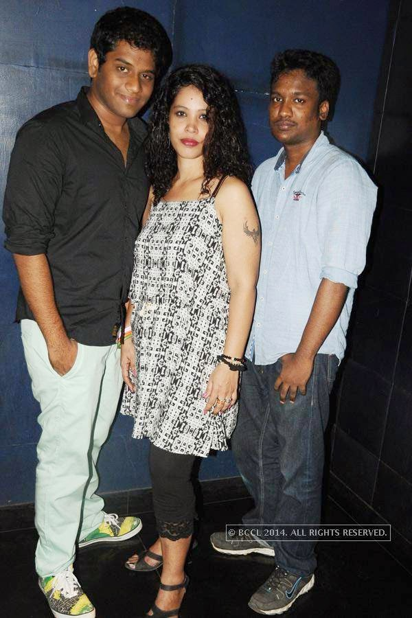 Suganth, Malvika and Kartik during the party, in Chennai.