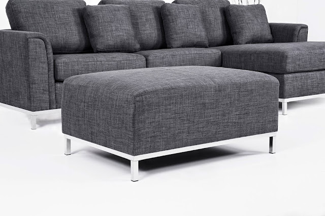 modern l-shape sofa in dark grey fabric Oslo by Beliani