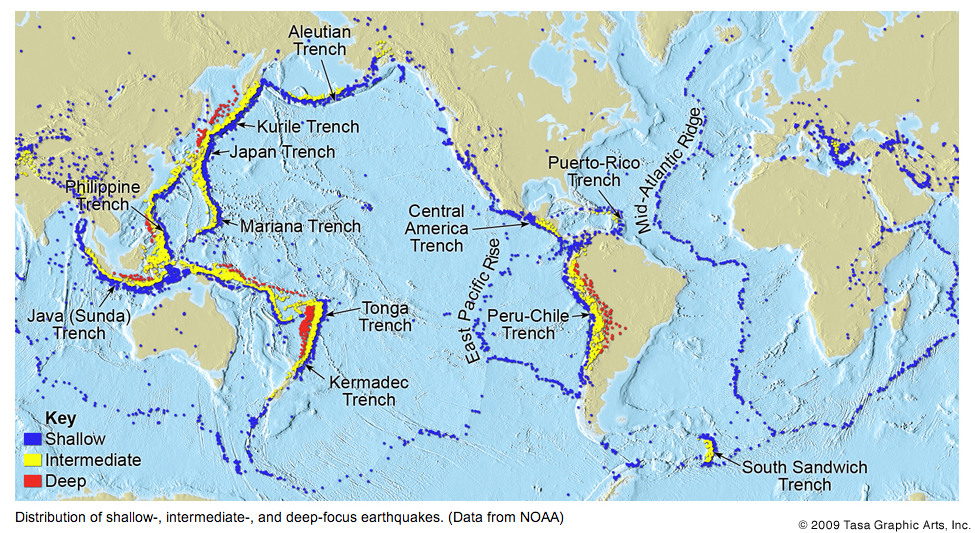 Why are there earthquakes and volcanoes in japan in response to worldwide distribution of earthquake depth figure from tasa graphics click to view larger gumiabroncs Images