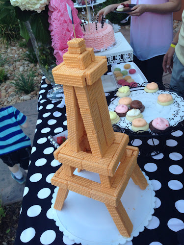 French themed party, Eiffel Tower cookies, Eiffel Tower made of wafer cookies