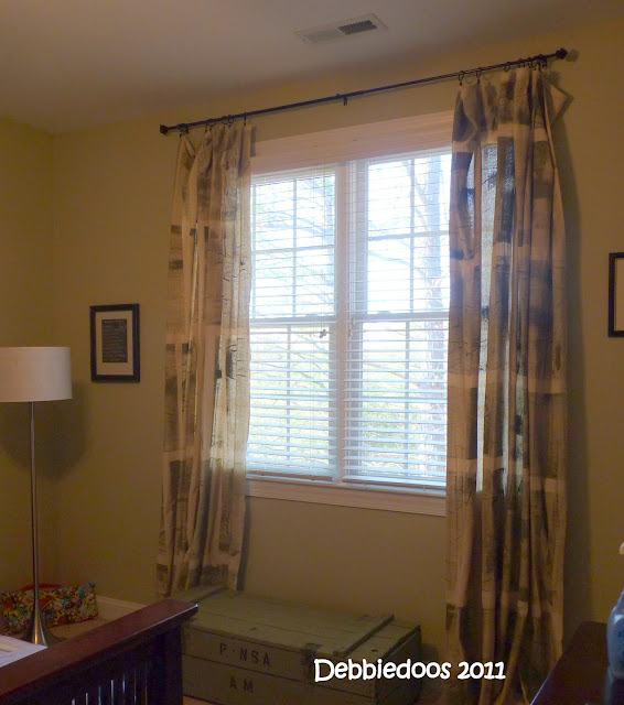 Drop cloth curtains painted