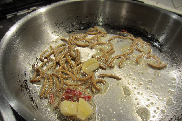 frying mealworms in butter