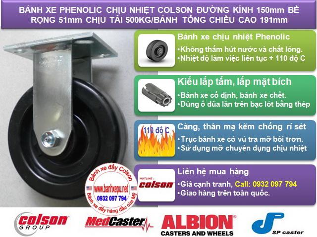 thông số Bánh xe Phenolic chịu nhiệt càng cố định phi 150mm Colson caster Mỹ