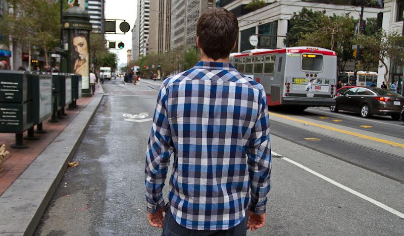 Blue Flannel looking down market street