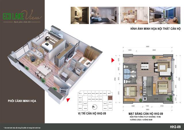 Thiết kế căn hộ 09 tòa HH-02 Eco Lake View