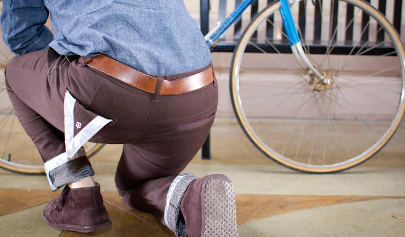 Brown BTW Pants: Squatting to unlock bike