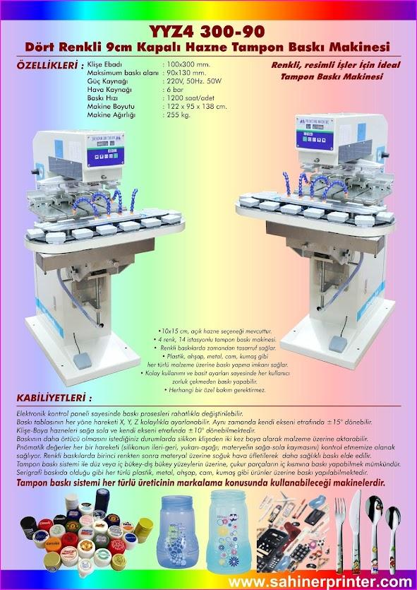 dört renkli kapalı hazne tampon baskı makinesi