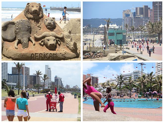Strand en boulevard Durban, Zuid Afrika
