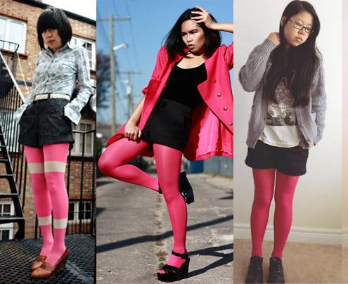 como usar meia-calça cor de rosa com shorts preto