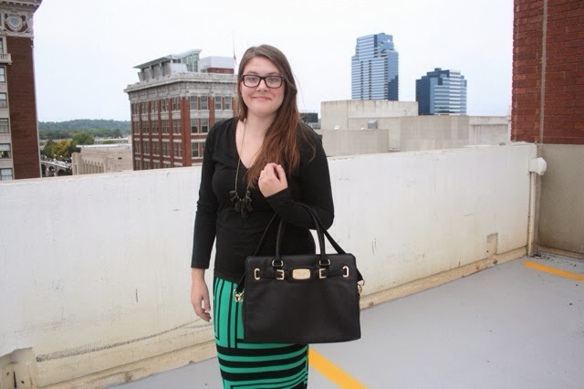 Pencil Skirt, Michael Kors Purse, Emerald Green, Green and Black