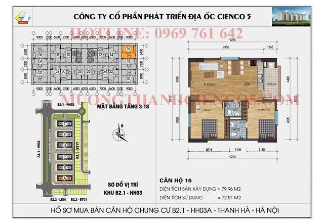 Sơ đồ chi tiết căn hộ chung cư b2.1 HH03A căn 16