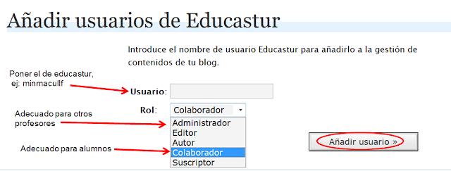 añadir usuarios blog educastur