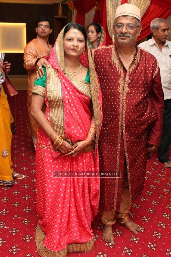 Suvarna and Balaprasad Tiwari during Swati Tiwari and Adam Filion's wedding, held at Swagat Lawns, in Nagpur.