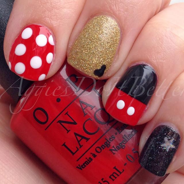 Aggies Do It Better: When you wish upon a star...Mickey & Minnie Mouse nail  art - Aggies Do It Better: When You Wish Upon A Star...Mickey & Minnie