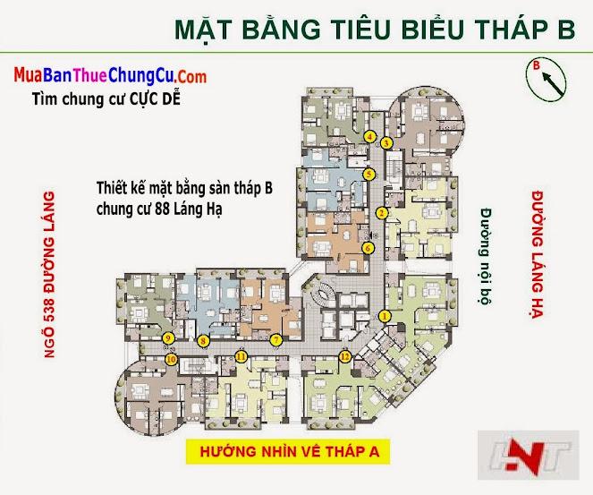 Thiết kế mặt bằng sàn Chung cư 88 Láng Hạ tháp B