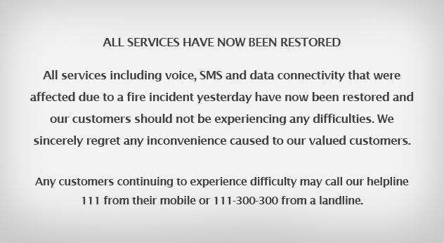 Mobilink Services Restored: affected due to fire incident at MSC