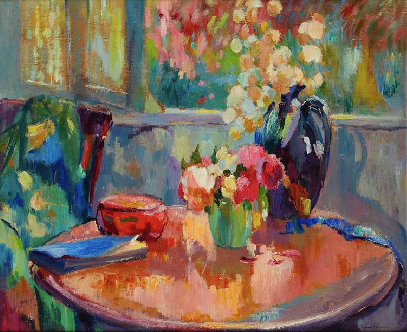 Robert Antoine Pinchon - Vases de fleurs sur le guéridon.