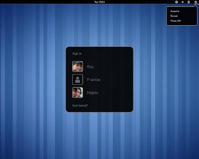 GNOME 3.2 GDM login screen