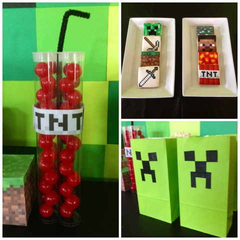 Poca Cosa Minecraft Party Dessert Table