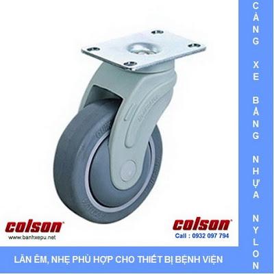 Bánh xe cao su càng nhựa Colson cho xe đẩy thuốc bệnh viện