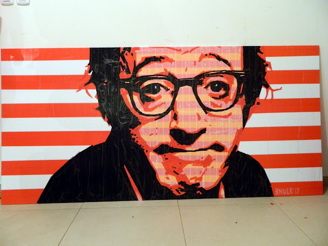 bronya & sonya benigeler  tape art portrait of woody allen