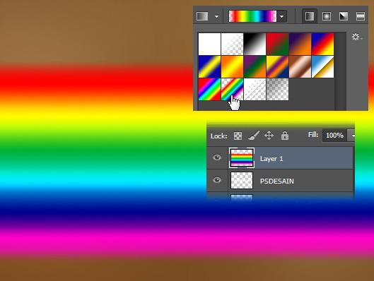 buat rainbow seperti berikut