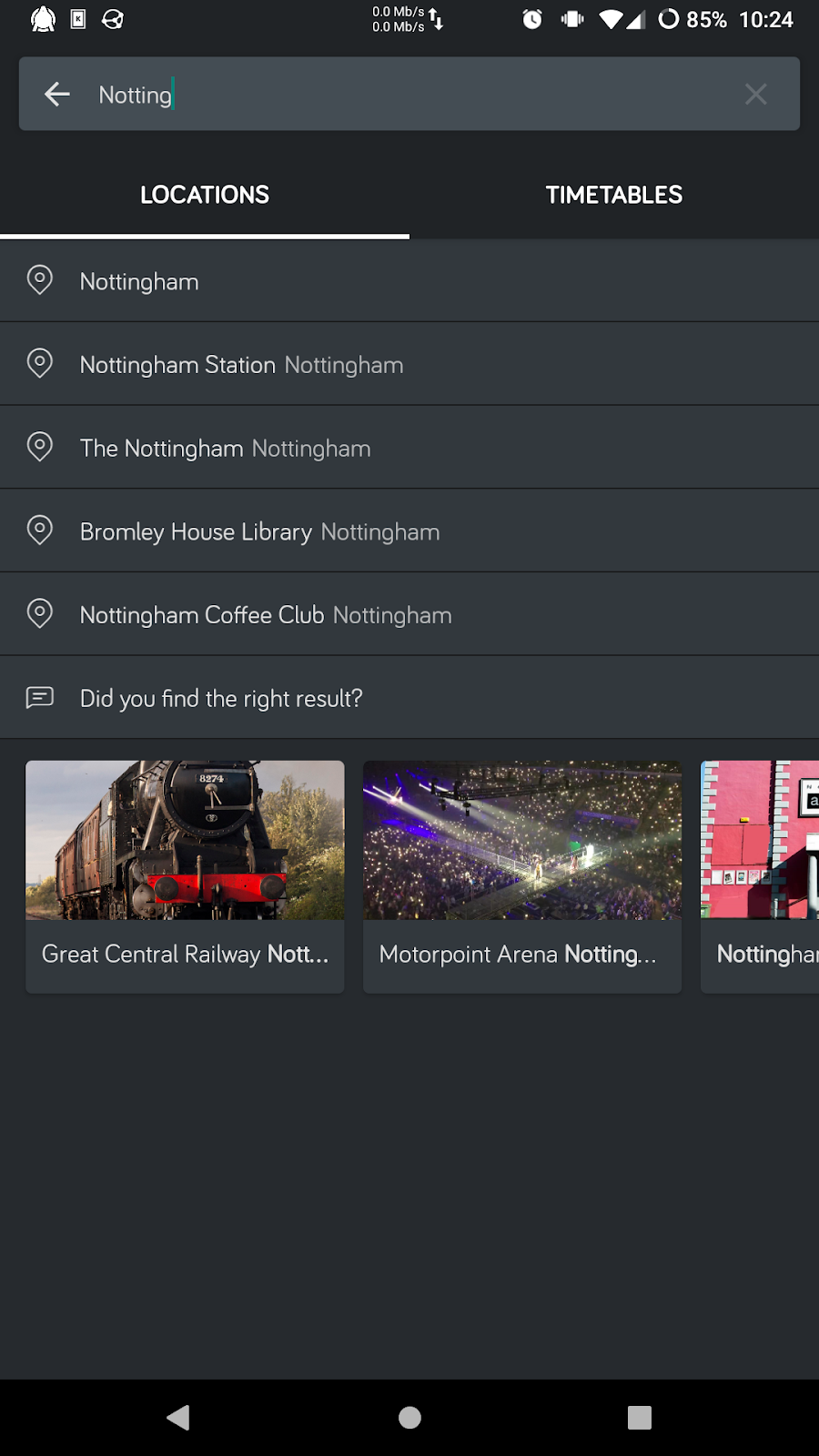Screenshot of a phone showing location search results