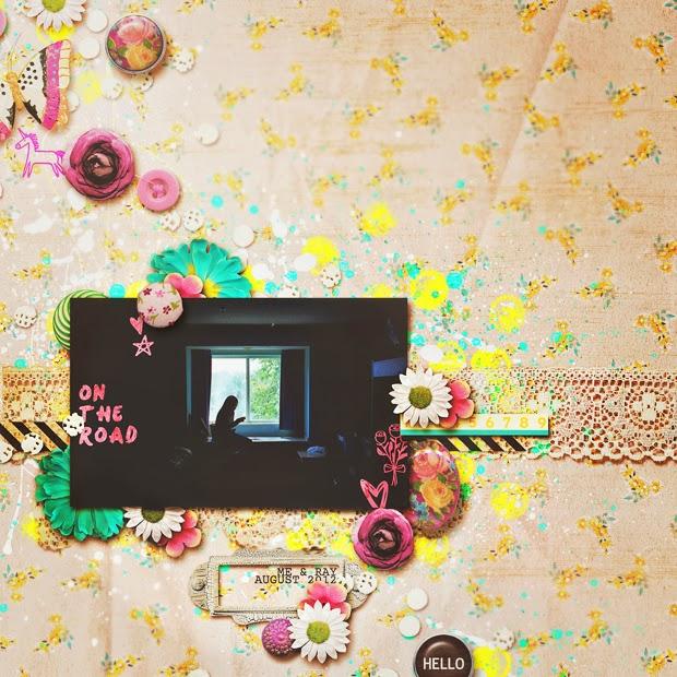 On the Road // Scrapbook Layout // 12x12 // I'm a Wildflower by Jenn Barrette